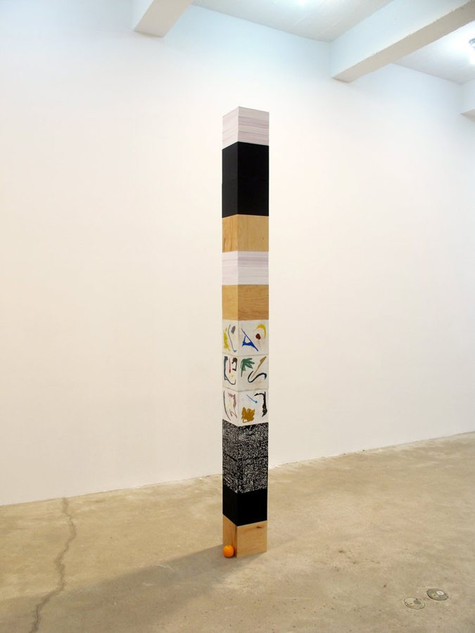 Monument for Pedagogy, 2012, Wood Boxes, Chalkboard Paint, Silkscreen Ink, Chine-colle, linseed oil, glue, fake orange, Dimensions Variable