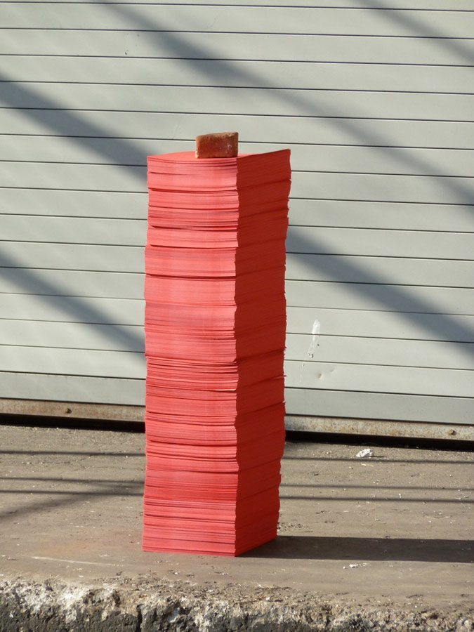 Paper Stack II, at Clearing, 7000 Sheets of Red Paper, Brick